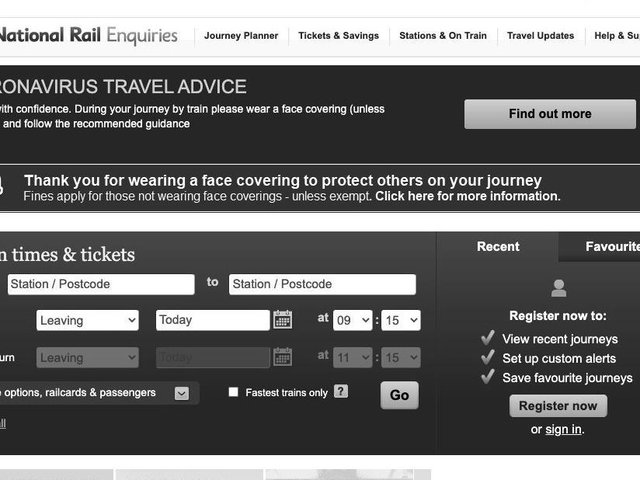 The National Rail website was greyscaled