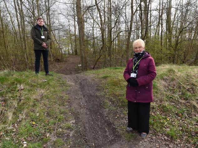 Coun Dane Anderton and Coun Sue Greensmith at woodland off Congresbury Road, Leigh