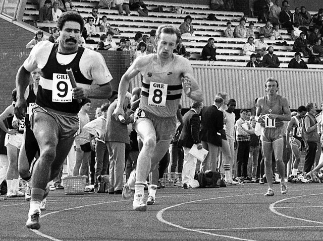 World, Olympic and European decathlon champion Daley Thompson in the outside lane in a relay race representing his club Essex Beagles at Robin Park, Wigan, on Saturday 5th of July 1986.