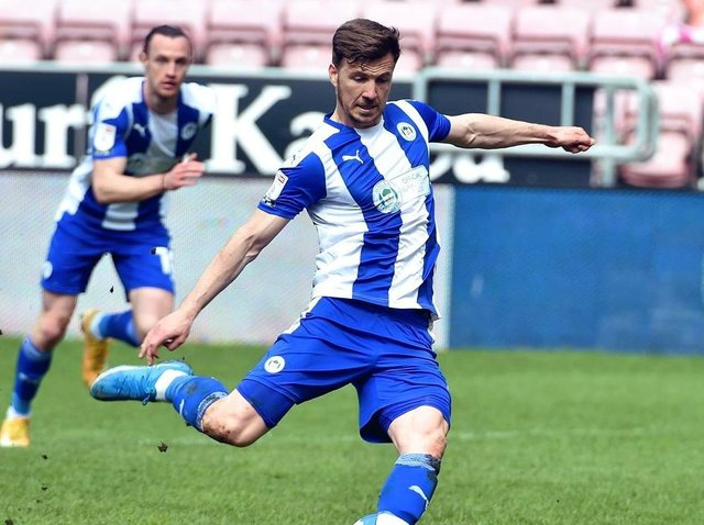 Lee Evans nets Latics' second goal from the penalty spot