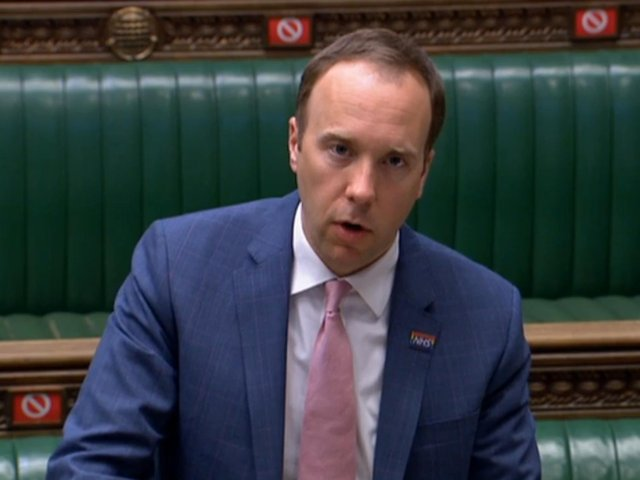 """Health Secretary Matt Hancock speaking in the House of Commons, London, as he told MPs that India will be added to the coronavirus travel """"red list"""" from 4am on Friday."""