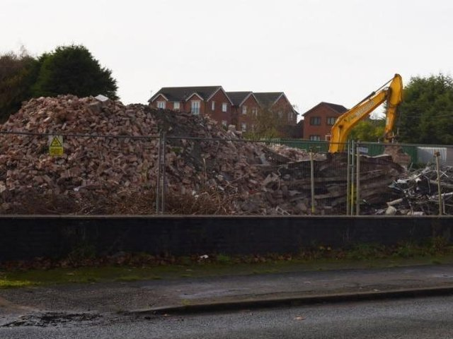 The demolished St Peter's Church and vicarage site in Bryn