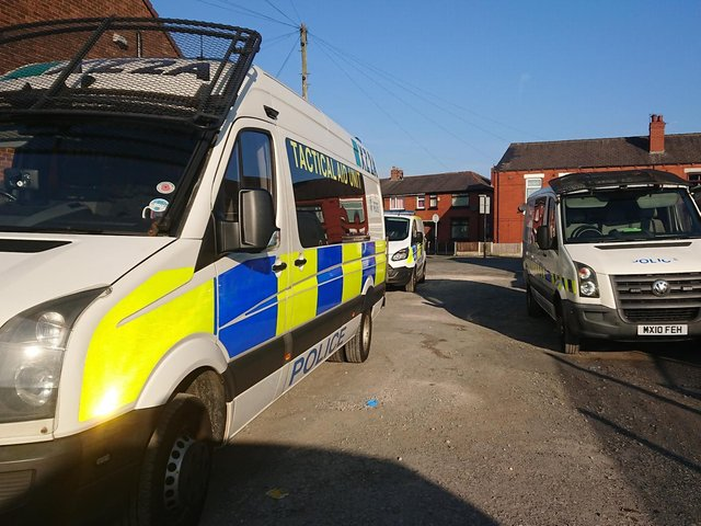 Police at the scene on Patricroft Road, Ince,