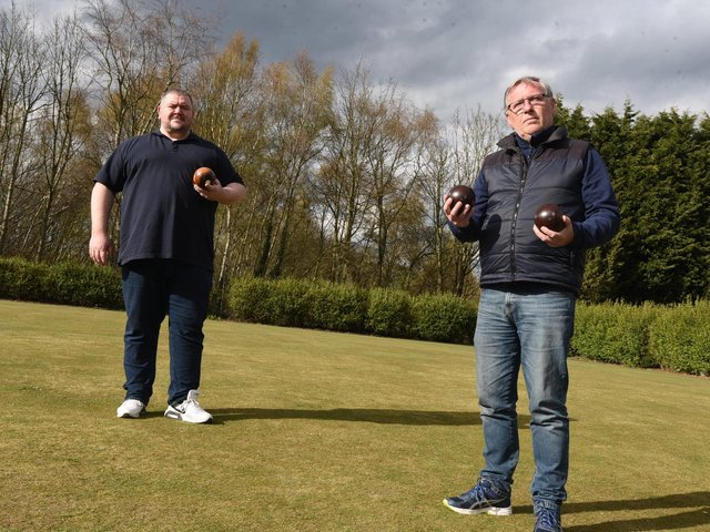 Tony Mee and Peter Jones from the Hingemakers on the green at Ashton Rec