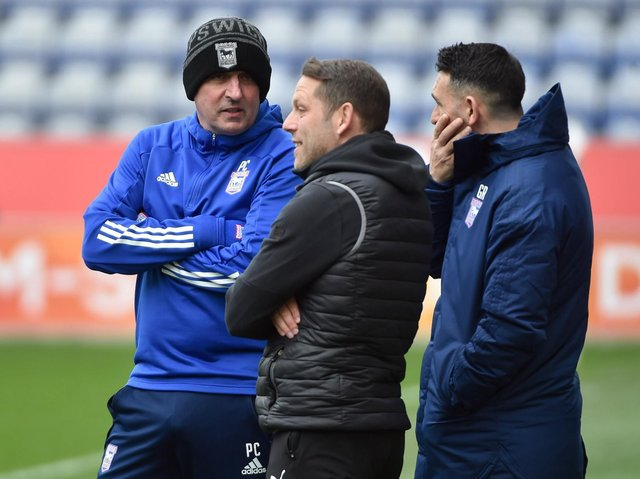 Leam Richardson, with Paul Cook and Gary Roberts during the recent visit of Ipswich