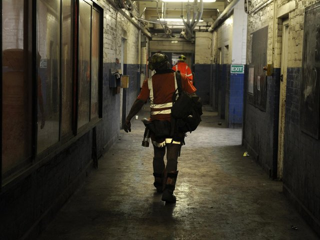 Miners finish their shift