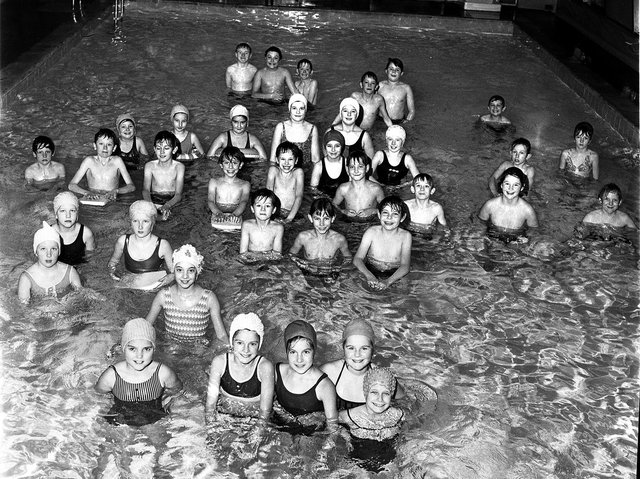 Pupils at Standish St Wilfrid's School celebrate the opening of their new swimming pool in 1970