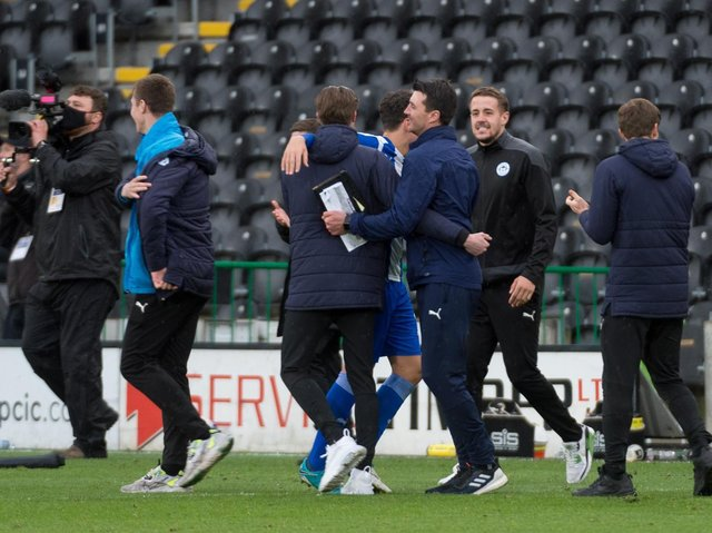 The Latics celebrations at the full-time whistle