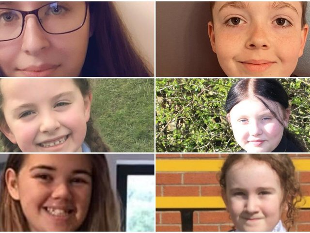 Poetry competition finalists, clockwise from top left, Elisha Foster, Alex Hough, Elise Derricott, Erin Myhan, April Cheetham and Emily Banks