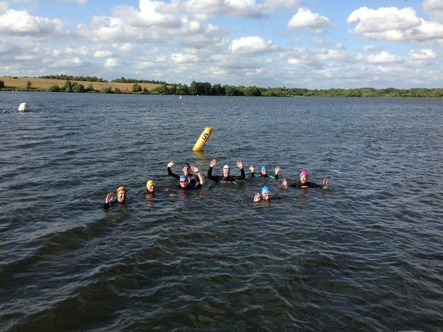 Open water swimmers at Pennington Flash