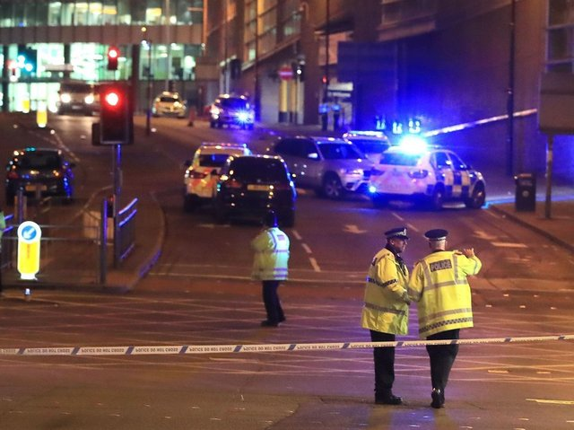Police officers at Manchester Arena on the night of the attack