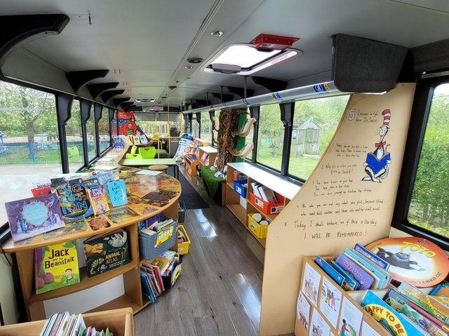 St Stephen's School turned their bus into a reading room