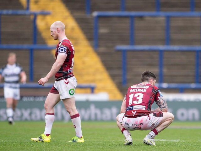 John Bateman shows his disappointment as Wigan Warriors bow out of the Challenge Cup