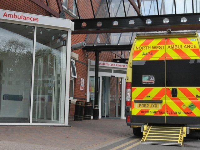 An ambulance outside Wigan Infirmary's A&E department