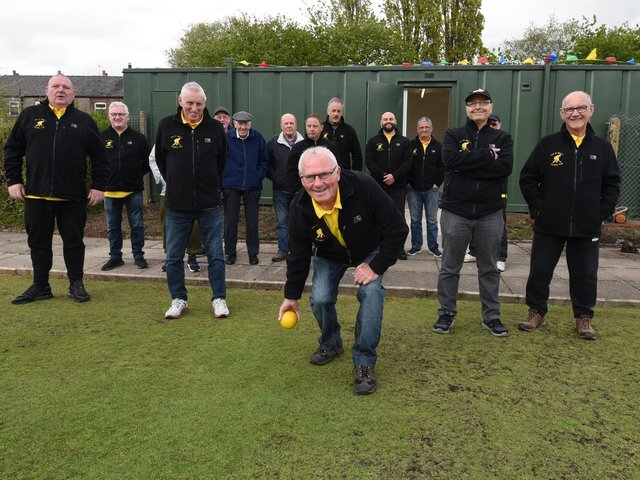 Ince St Mary's Bowls Club members with the new facilities at the green