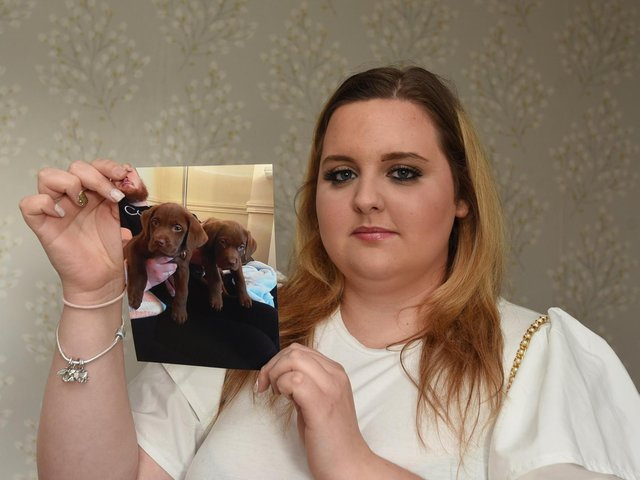 Ellie-May Willan, from Orrell, holding a picture of the two puppies which died