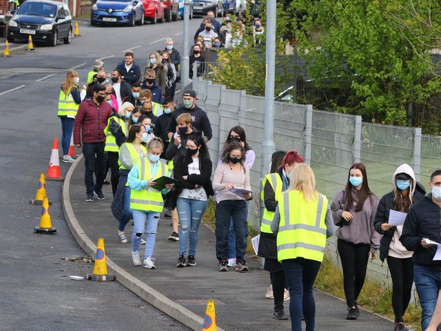 Residents in Bolton once again queuing in their thousands to get a Covid-19 vaccination on Sunday