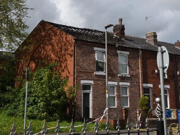 Damage to the roof following the house fire in Vine Street, Whelley