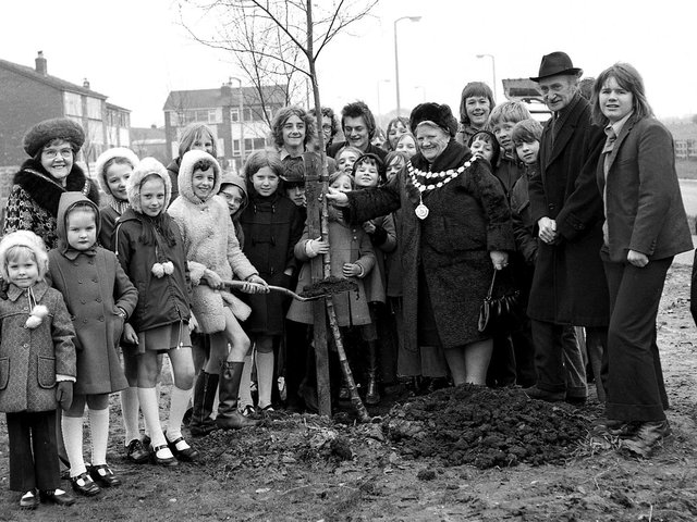 Ince schoolchildren join in with the planting of trees around the town in 1974