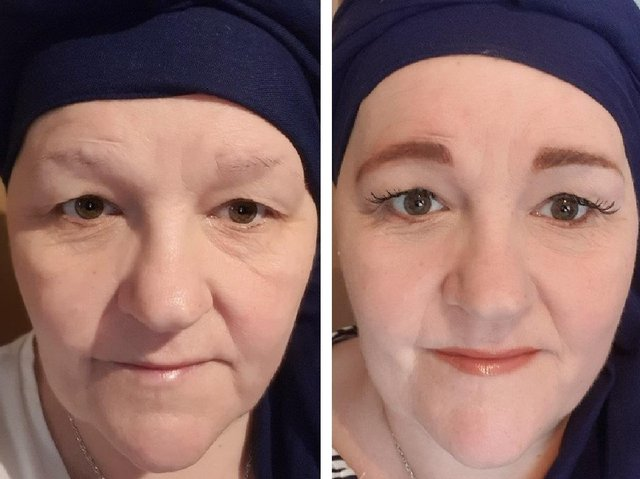 Andrea before and after her makeover