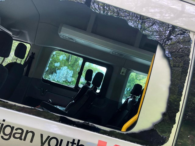 Damage to Wigan Youth Zone's bus