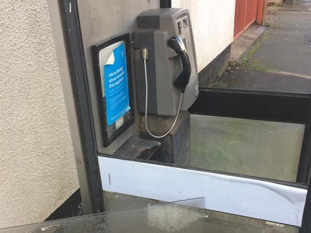 The damaged phone box in Collingwood Street, Standish
