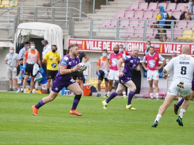Jackson Hastings takes on the Catalans line on a rare Wigan sortie in Perpignan