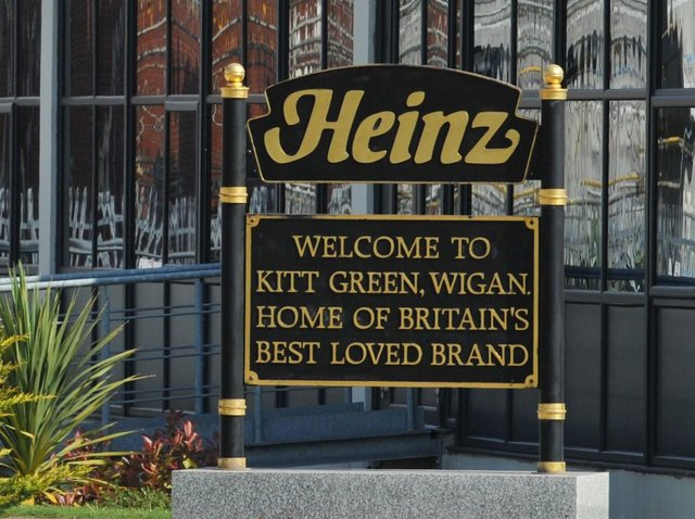 Welcome to Heinz sign at the Kitt Green site, Wigan.