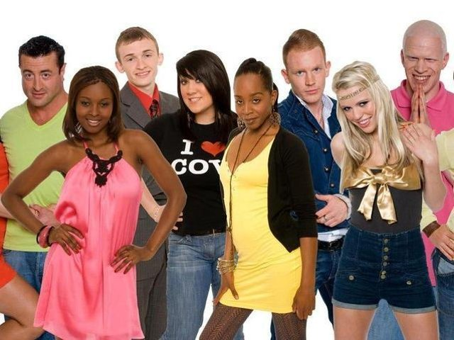 Luke Marsden (third left) with other members of the Big Brother Nine household