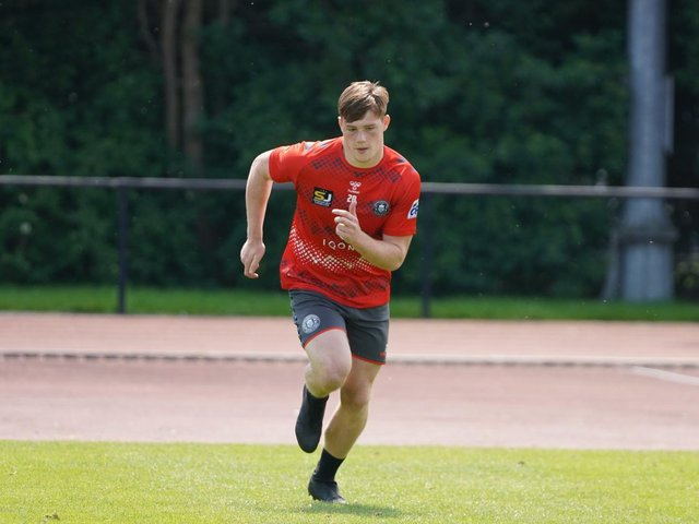 Sam Halsall in training this week at Robin Park