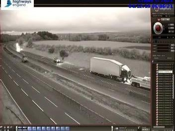The stranded lorry on the M6 near Wigan