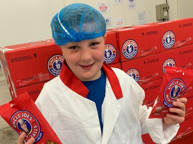 Ethan Rowbotham, 10, at the Toffee Works where Uncle Joe's Mint Balls are made