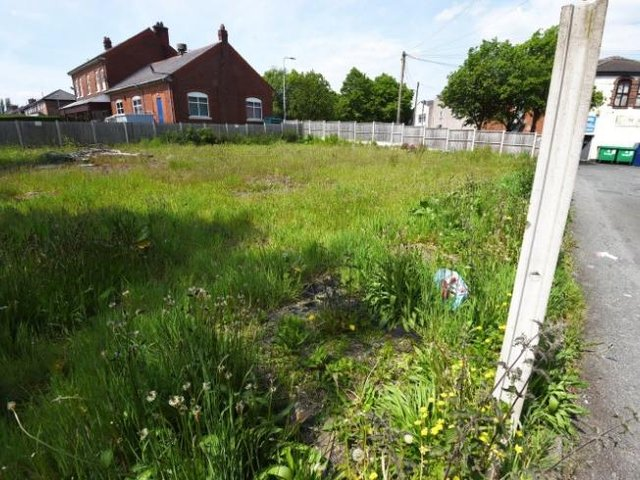 The plot next to Brooke Lane in Orrell where the apartments would be built