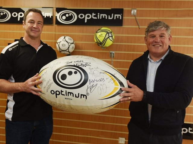 Optimum founder Pete Moran with rugby league legend Adrian Morley