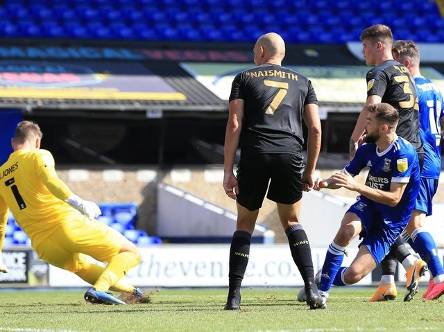 Gwion Edwards scores against Latics for Ipswich on the opening day of last season