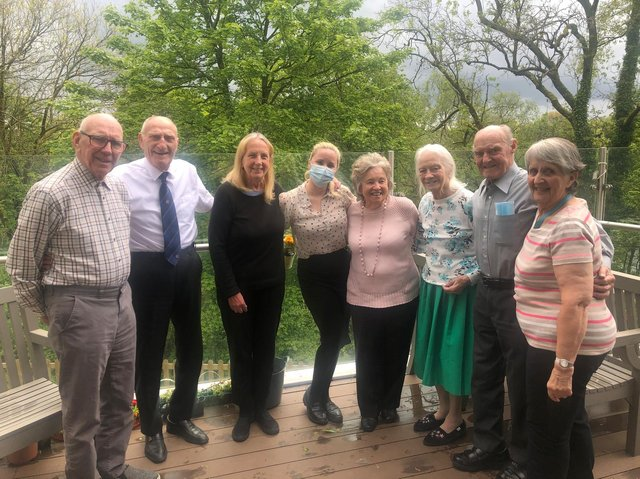 Katy Grindley with residents