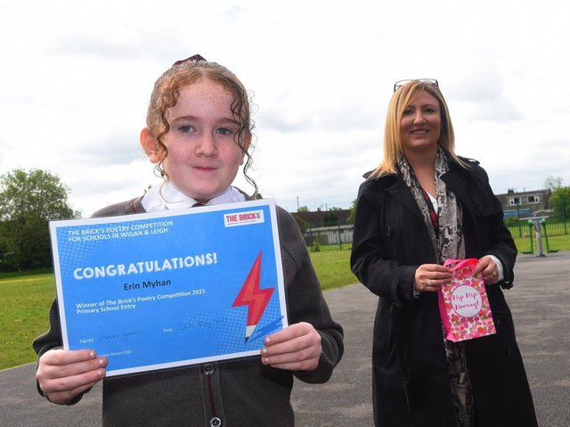 Year six pupil Erin Myhan with Keely Dalfen, from The Brick
