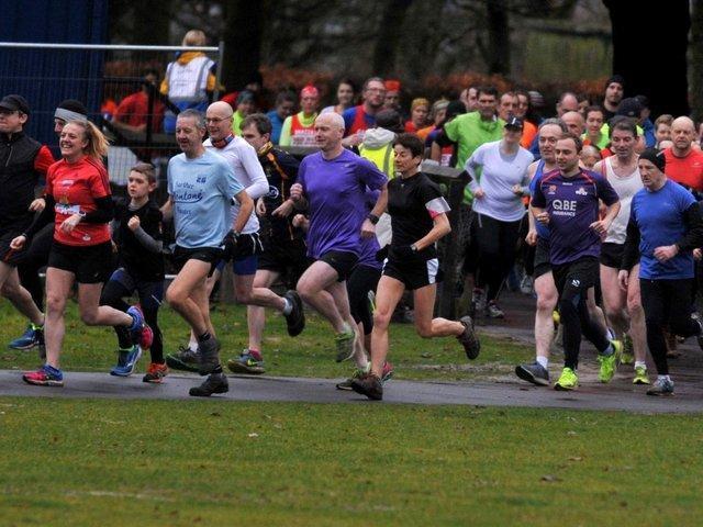 A Parkrun event in Haigh Woodland Park.