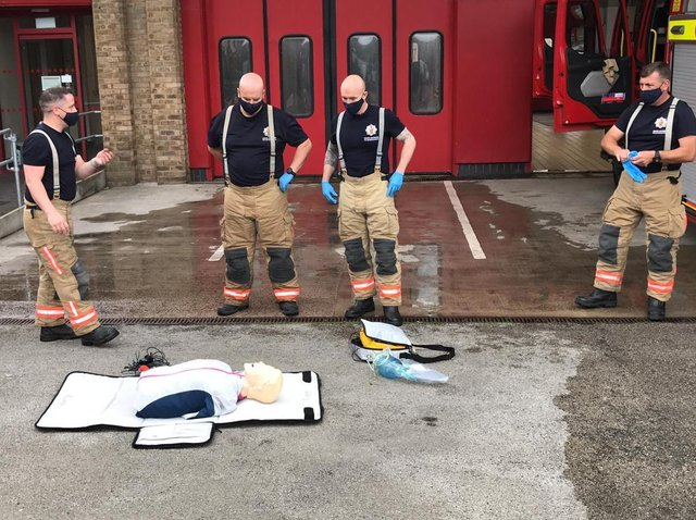 Firefighters refresh their CPR skills