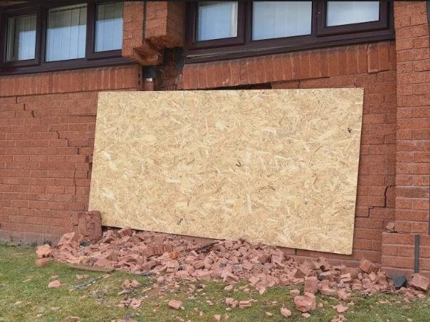 St Luke's Church Centre in Ashton has been left badly damaged after a car crashed into the side of the building