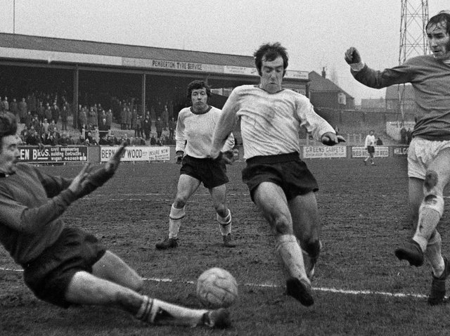 1972 - Wigan Athletic's Jim Fleming moves in on goal against South Liverpool in the Northern Premier League match at Springfield Park on Saturday 19th of February 1972. Wigan lost 1-0.