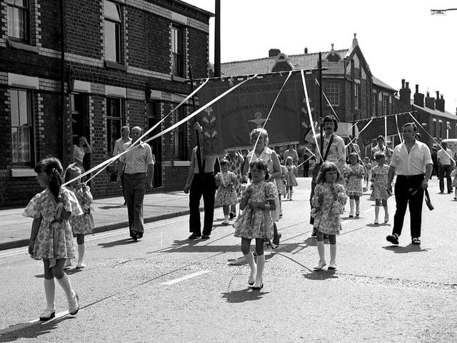 Church walks in 1976 in Wigan including at St Nathaniel's Church, Platt Bridge
