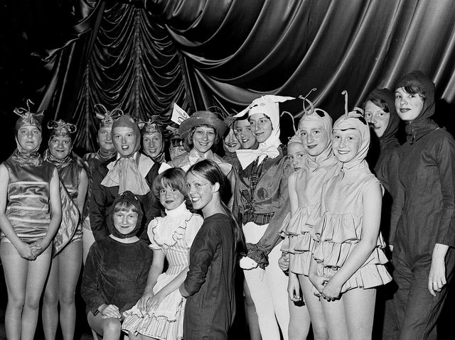 Members of the Barbara Fenn school of dance and drama line up for a show at the ABC Ritz Cinema Station Road, Wigan, in 1976