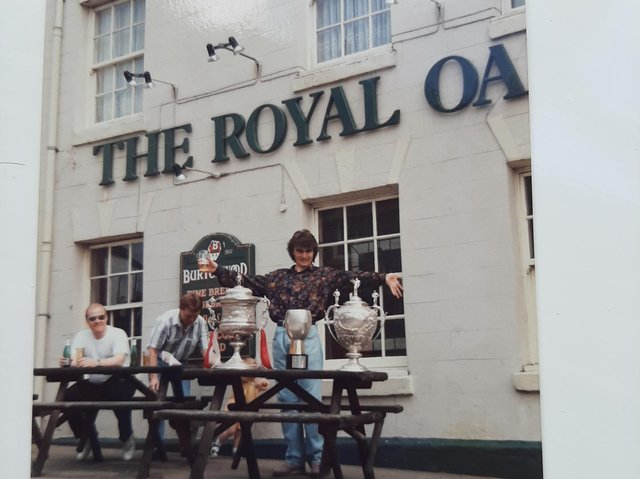 David Greenwood with Wigan RL's array of trophies outside The Royal Oak pub, Standishgate, more than 30 years ago