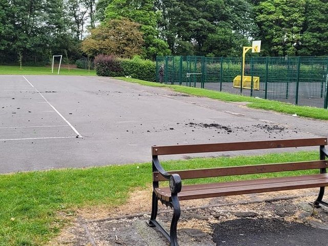The damaged play area at Jubilee Park in Ashton