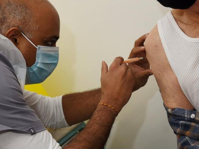 Pharmacist Sunil Patel at Hollowood vaccination centre