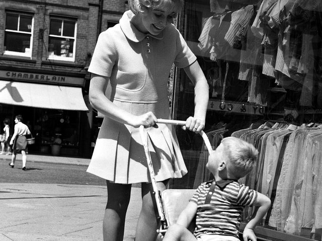 A fashion shoot in Wigan town centre in June 1970
