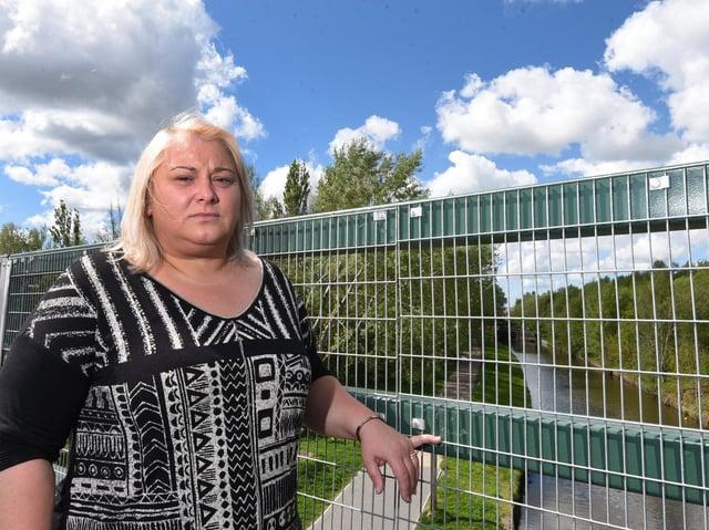 Samson's mum Rosanna Price at the bridge