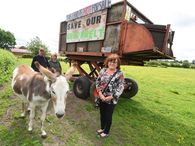 Jimmy and Gillian Morris with Coun Eileen Rigby at Latham House Farm