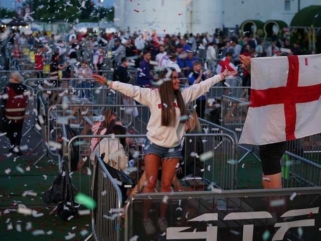 Fans watch the UEFA Euro 2020 Group D match between Czech Republic and England at the 4TheFans fan park in Manchester